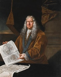 portrait of a cartographer, standing in an interior, holding a map of the world by giulio pignatta