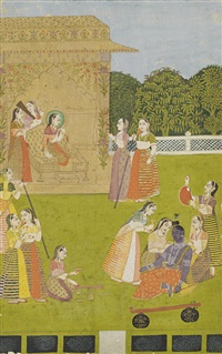 a suitor disguised as a vina player, and in the guise of krishna, fainting at the beauty of a princess seated in a pavilion by anonymous-indian-mughal (16)