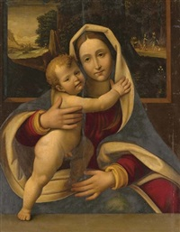 the madonna and child with travelers in a landscape by andrea solario