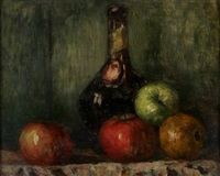 nature morte (fruits and bouteilles) by charles cottet