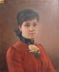 portrait de jeune fille à la robe rouge by c. cousturier