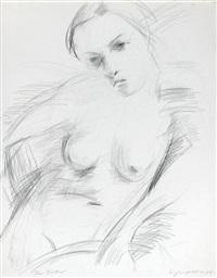 weiblicher akt, den kopf nach rechts geneigt (+ liegender akt (sketch), verso) by siegfried klotz