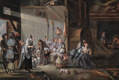 eine elegante jagdgesellschaft kehrt in einen bauernhof ein by jan le ducq