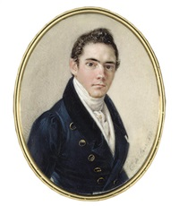 a young gentleman, in blue coat with gold buttons, white waistcoat by karl von saar