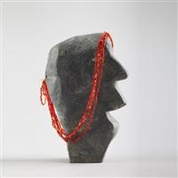 woman with beaded headdress by eva talooki aliktiluk