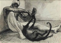 dancer and cat with additional drawing of ballerina on reverse by daniel rasmussen