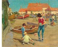 mother and children at the beach by harry freckleton