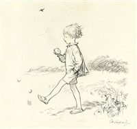 christopher robin came down from the forest to the bridge, feeling all sunny and careless by ernest h. shepard