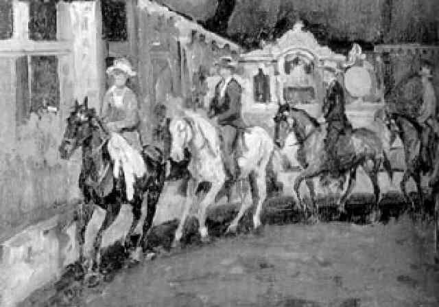 ruiters en amazone te paard by dirk johannes van haaren