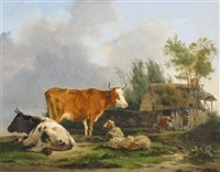 cattle and sheep by an old thatch cottage with a family and their dog by jean-françois legillon