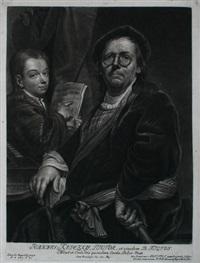 portrait des malers johannes kupetzky und seinem sohn (portrait mit der brille) by bernhard vogel