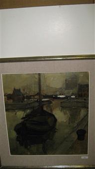 platbodem aan de haven by oscar verpoorten