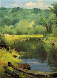 spring on the riverbank by john willard raught