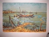 bateaux de pêche au mouillage by maurice armand buffet