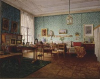 interior of a living room by eduard ritter