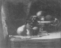 fruit and compote on a victorian table by rufus wright