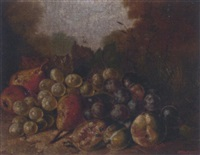 grapes, pears and plums on a mossy bank by w. woodhouse