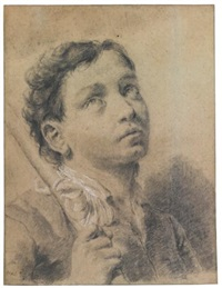 study of a boy, bust length, holding a staff by giovanni battista piazzetta