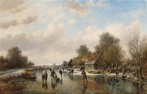 a winter landscape with skaters on a frozen waterway by willem vester