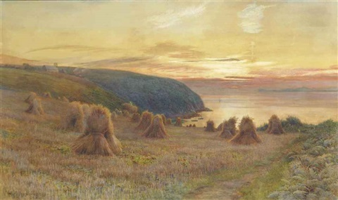 sunset st austells bay cornwall by walter follen bishop
