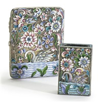 a russian cigarette case with a matching match box case (various sizes; set of 2) by nikolai zverev