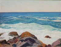 monhegan coastal view by george g. adomeit