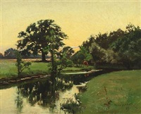 landscape with stream by olaf viggo peter langer
