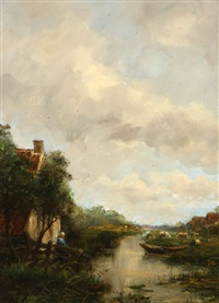 village with a stream by willem george frederik jansen