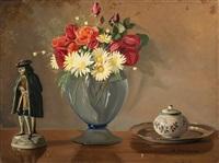 vaso di fiori con zuccheriera, piatto e scultura by mario simoni