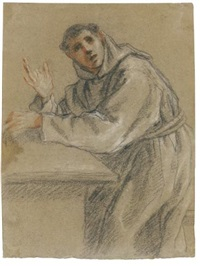 a young monk seated at a table, turned towards the viewer by fra semplice da verona
