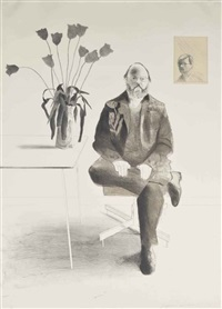 henry with tulips by david hockney