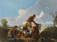 rastende bauern in einer landschaft beim würfelspiel by paolo monaldi
