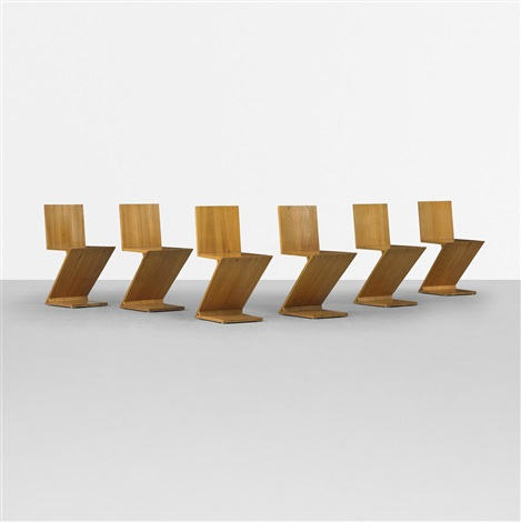 zig zag chairs set of 6 by gerrit thomas rietveld