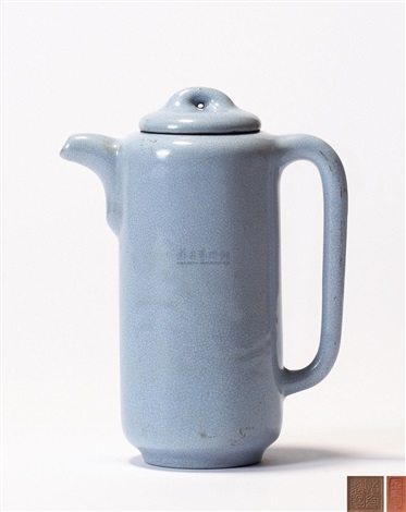 满釉直筒壶 (a zisha teapot with cover) by pei shimin