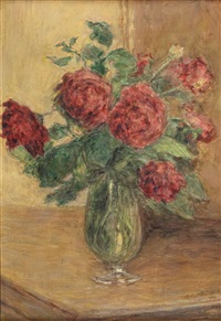 stillleben mit roten rosen in glasvase by adolf helmberger