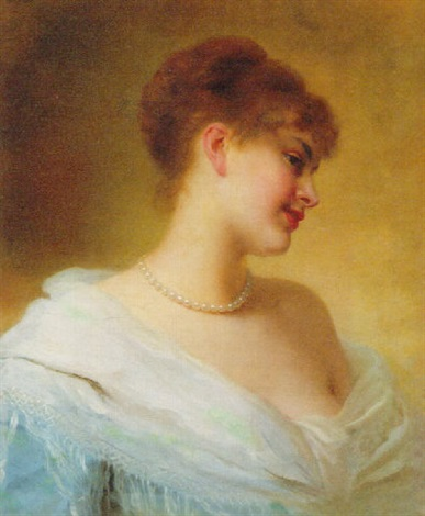 a lady wearing a blue dress and pearls by desire honore berard