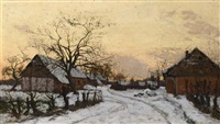 farmhouses in the snow by alphonse asselbergs