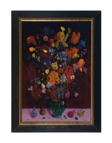 still life of flowers with butterflies bees beetles and a pink stone ring by charles jay