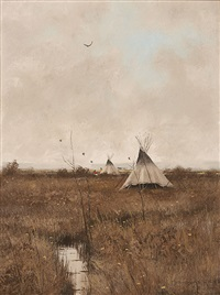 autumn indian encampment by don ricks