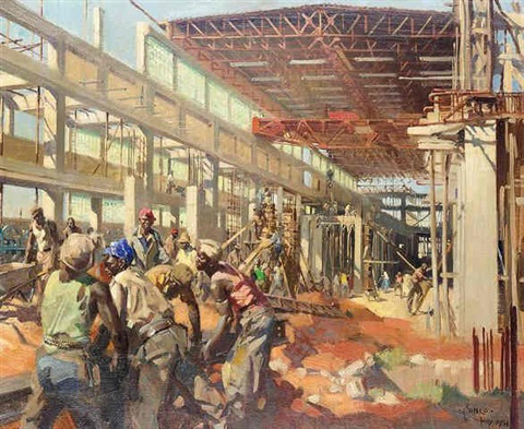 paper mills during construction in the transvaal by terence cuneo