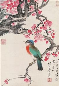 花鸟 镜片 设色纸本 by tang yun