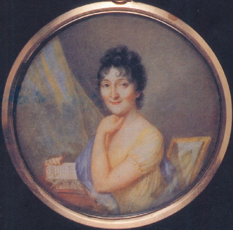 a lady frances gabriella of talbot seated at her desk in yellow dress blue shawl over her right shoulder by karl gottlieb schweikart