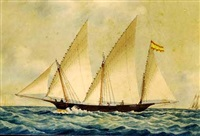 the spanish trading xebec antonieta off marseilles by louis françois prosper roux
