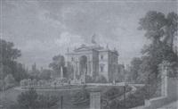 historische herrschaftliche villa mit park und personenstaffage bei potsdam by wilhelm peters