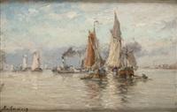 pêcheurs et remorqueur by henri arden