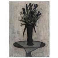 iris bleus dans un vase de gallé by bernard buffet