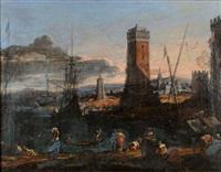 vue de port animé au pied d'une tour sur une cote d' italie by adriaen van der cabel