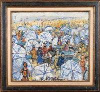 les parasols bleus by henri victor wolvens