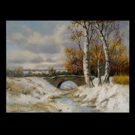 winter landscape with bridge by alfred richard mitchell