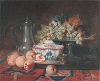 soupiere en faïence, pêches et raisins sur entablement by c. cousturier